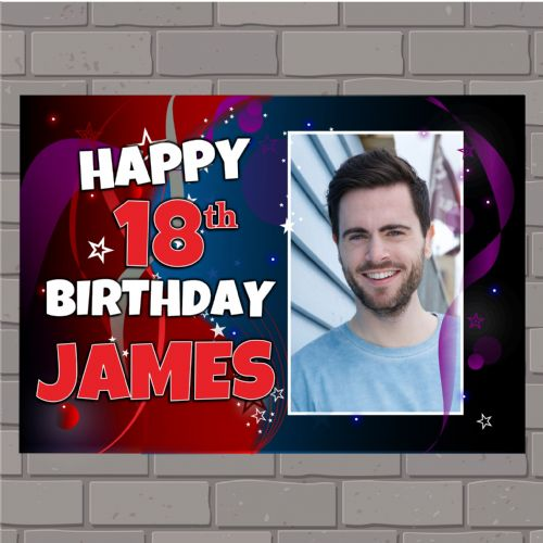 Personalised Happy Birthday PHOTO Poster Banner N142
